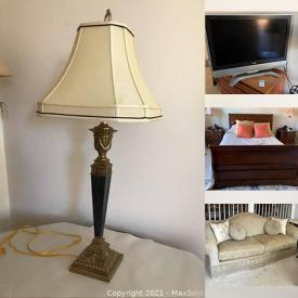 MaxSold Auction: This online auction features furniture such as upholstered sofa, accent chairs, dining table, hand-painted display cabinet, and sleigh bed, table lamps, framed art with COAs, kitchenware, vintage Fisher console and much more!