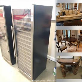 MaxSold Auction: This online auction features furniture such as a wood sideboard, Swaim sofa, Stickley sofa, Kindel table, pedestal base dining table, chairs, Century leather sofa, Hooker coffee table, Thomasville entertainment table and more, pool table light fixture, Avalon wine cooler and much more!