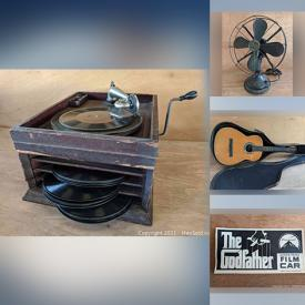 MaxSold Auction: This online auction features Vintage Items such as LPs, Tools, Metal Desk Fans, Toys, Books, Jewelry, Guitar, and Fishing Gear, Antique Player Piano Rolls, Reptile Tank, Black Amethyst Tableware, World Cup Posters and much more!
