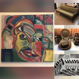 MaxSold Auction: This online auction features MCM Lighting, Abstract Canvas Painting, Silk Scarves/Wraps, Wool Yarn, Art Glass, NILS JOHAN Copper/Brass Casserole Frame, Vintage Stainless &Brass Lidded Pots, Vintage Wicker/Cane Chair, Artt Potter, Vintage Pyrex, Puzzles and much more!
