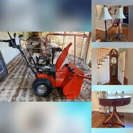 MaxSold Auction: This online auction features Grandfather Clock, Ethan Allen Chairs, Area Rugs, Floor Lamps, Teak Outdoor Furniture, Small Kitchen Appliances, Crystal Stemware, Twin Trundle Bed, Lawnmower, Snowblower, Garden Tools, Thule Bicycle Rack and much more!