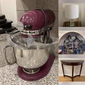 MaxSold Auction: This online auction features Accent Tables, Lamps, Bombay Furniture, Electronics, Mirrors, Artwork, HP Printer, Bissell Vacuum, Food Saver Vac, Sewing Machines, Office Supplies, Mickey Mouse Glassware and much more.