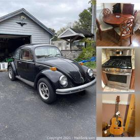 MaxSold Auction: This online auction features a 1973 Volkswagen Beetle, Lionel trains, Frigidaire microwave and gas stove, small kitchen appliances, crab pots, dining table and chair sets, tv's, Sega Genesis system, stereo systems, washer and dryer, electric heater, bicycle, luggage, hunting cabinet, U shaped office desk, costume jewelry and much more!