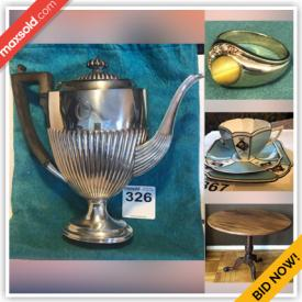 MaxSold Auction: This online auction features Sterling Silver Tea Set, Sterling silver cuff links, cases, Gold Jewelry, Tigers Eye, Fitness equipment, Fine china, Crystal Jewelry, Colognes, Antique Furniture, Demitasse, Electronics, Antique Clocks and Lanterns and much more.