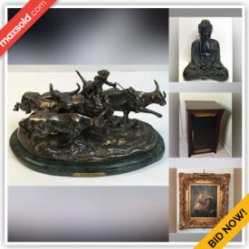 MaxSold Auction: This online auction features Vintage Capodimonte Figurines, Pewter Sculpture, Foo Dogs, Egyptian Tapestries, Steins, Binoculars, Camping Gear, Asian Tile Art, Watches, Power & Hand Tools, Leather Couch, Vintage Bell & Howell Organ, Vintage Books and much more!