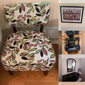 """MaxSold Auction: This online auction features Aynsley fine china, 19"""" Insignia TV, furniture such as leather loveseat, nesting tables, armoires, glass top desk, and dresser, vintage porcelain, wall art, lamps, fishing gear, power tools and much more!"""