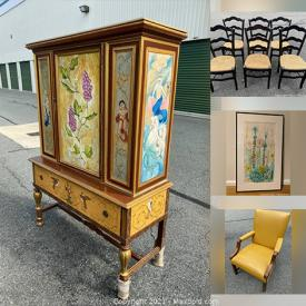 MaxSold Auction: This online auction features MCM Tea Cart, Bedroom Furniture, Dining Room Tables and Chairs, Artwork, Jewelry Armoire, Bookcases, Sports Memorabilia and much more!