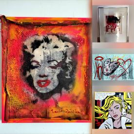 MaxSold Auction: This online auction features Tadas Zaicikas (TedyZet) Artwork, Roy Lichtenstein Artwork, Peter Li Art Photography, Yayoi Kusama Soft Sculpture, Exhibition Posters, Marc Chagall Lithograph, Alistair Macready Bell Print and much more!