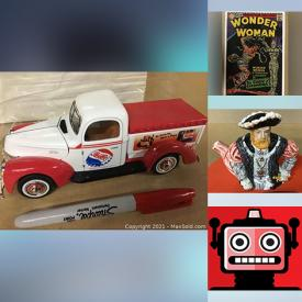 MaxSold Auction: This online auction features Nostalgic Toys & Games, Die-Cast Vehicles, Lesney, Royal Doulton Toby mugs, Comic books, B-Movie Poster Prints, Lionel Trains, Legos, Star Wars collectibles & action figures, Gaming Trading Cards, Disney, Cabbage Patch, Barbies, Pop TV character toys, Breweriana, Bottles, Fisher-Price, Dolls, Antique crystal chandelier and much more!