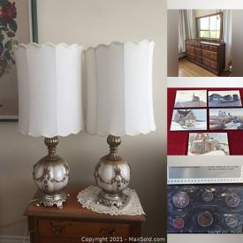 MaxSold Auction: This online auction features furniture such as a secretary desk, hall bench, antique campaign chair, solid maple dresser, antique bachelor's chest and more, cut crystal bowls, sewing notions, office items, lamps, Rosenthal rimmed china set, wine glasses, side dishes, canape trays, antique botanical prints, museum posters, nesting serving bowls and much more!