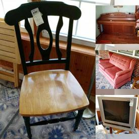 MaxSold Auction: This online auction features furniture such as a tufted back sofa, rocking chairs, tables, Flexsteel sofa, antique table, ottoman, china cabinet, server, storage cabinets, rocker recliner, fabric armchair, dressers, nightstands, outdoor table, folding chair and more, gold rings and earrings, sled, Whitney piano, hangers, cleaning supplies, planters, vases, Sanyo TV, baskets, printer, plasticware, linens and much more!