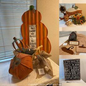 MaxSold Auction: This online auction features Fall Decorations, Lamps, Quote Box Signs, Fabric Pumpkins, Halloween Decorations, Wood Signs, Floral Arrangements, Garden Stakes, Wreaths, Turkey Statues, Metal Signs and much more.