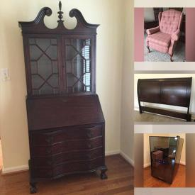 """MaxSold Auction: This online auction feature aquariums with stands and supplies, 37"""" Panasonic TV, furniture such as oak computer desk, IKEA sofa bed, nightstands, cabinets, and kitchen table with chairs, area rug, wine fridge, Lego, party supplies, linens, lamps, gardening supplies, framed wall art and much more!"""