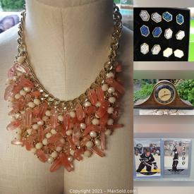 MaxSold Auction: This online auction features Statement Necklaces, Multi-Strand Necklaces, Charm Style Bracelets, Sports & Non-Sports Cards, Comics, Vintage Cocktail Shaker, Art Glass, Salt & Pepper Shakers, Seashells, Golf Clubs, Solar Lights and much more!