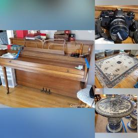 MaxSold Auction: This online auction features Vintage Desks, Oriental Chairs and Furniture, Oversized Vases, Sportscards and Memorabilia, Area Rugs, Signed Artwork, Signed Books, Ceramic and Stone Horses, Jade Art, Statues, Figures, Toys, Pottery, Fine China, Sports Equipment, Privacy Screens, Scrolls, Garden Seats, Cloisonne and much more.