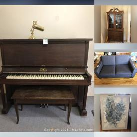 MaxSold Auction: This online auction features Sofas, Dresser, Women's Clothing, Plastic Storage Containers, Office Supplies, Glass Computer Desk, Toys, Framed & Unframed Wall Art, Children's Equipment, Specialty Cake Pans, Small Kitchen Appliances, Amherst Piano and much more!
