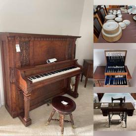 MaxSold Auction: This online auction features musical equipment such as an antique Bell upright piano and Chroma Harp autoharp, furniture such as dining table, reclining lift chair, and occasional chairs, outdoor furniture such as patio table, chaise lounges, and BBQ, décor such as framed art, wall clock, and glassware, electronics such as LG monitor and Sony wireless headphones and much more!