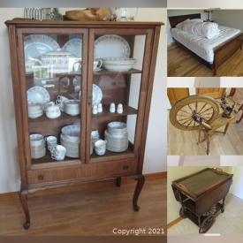 MaxSold Auction: This online auction features Antique Sewing machine, Mahogany Furniture, Vintage Clocks, Safe, Filing Cabinets, Tables, Sofas, Grandfather clock, Display Cases, Electronics, Patio Furniture, BBQ, Cameras, Games, Kitchenware, Minton, Artwork and much more.