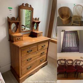 MaxSold Auction: This online auction features appliances such as Beaumark freezer, furniture such as loveseat, vintage dresser, and table, décor such as framed art, crystalware, pottery, and curtains, sports equipment such as squash rackets and much more!