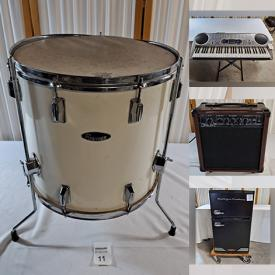 MaxSold Auction: This online auction features Amplifiers, Snare Drum, Keyboards, Music Stands, Microphone Stands, Vintage Drums, Throne Seats, Floor Tom, Cymbals, Garden Supplies, Raft, Books, Toys, Figures, Artwork and much more.