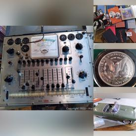 MaxSold Auction: This online auction features a huge lot of Stained glass, silver coins, die-cast toys, marbles, patches, military, jewelry, rocket radio, tubes and tester lots of small collectibles and much more!