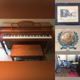 MaxSold Auction: This online auction features Baldwin piano, power chair, furniture such as antique desk, antique dresser, and antique blanket chest, cleaning supplies, antique suitcase, lamps, vintage bike, costume jewelry, bike rack, antique oil painting, vintage wall art and much more!