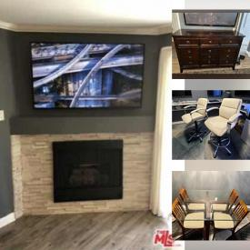 """MaxSold Auction: This online auction features Samsung 60"""" and 32"""" TVs, leather high-top chairs, coffee table, glass top dining table, wooden dresser, bed frames, lamps, tennis rackets, small kitchen appliances and much more!"""