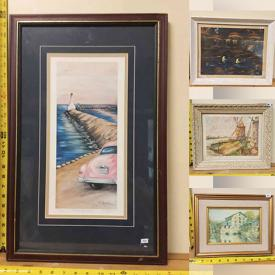 MaxSold Auction: This online auction features Tons of Framed Artwork. Sporting Posters, Mirrors, Stained Glass, Framed Disney Placemat, Wall hangings, Original Paintings, Shadow Boxes, Frames, Wall Tile, Copper Art and much more.