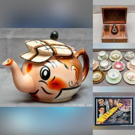 MaxSold Auction: This online auction features Shelley, Fenton, Aynsley, Paragon teacups, MCM serving ware and decor, WMF German steak cutters, costume jewelry, MCM woodblock print, carved jade pendants and bracelets, acrylic wall shelves, acrylic footed stands, vintage posters and much more!