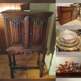 MaxSold Auction: This online auction features MCM Furniture, Antique Dress Form, STAR WARS, Kitchenware, Pyrex, Steins, Collectible bottles, Wood statues, Figures, China, Pottery, Steins, Copper, Toby Jugs, Vintage clothing, Majolica, Floral Arrangements, Doll house and much more.
