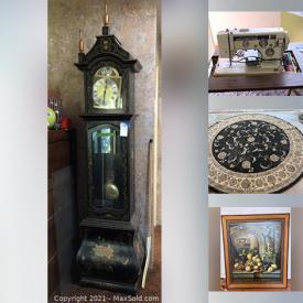 MaxSold Auction: This online auction features Antique & Vintage Solid Wood Furniture, Handmade quilts, Vintage books & magazines, Chandeliers, Jewelry, Watches, Jewelry making tools & supplies, Grandfather clock, Sewing machine, Antique clocks, Typewriters, Oriental rugs, Geodes, Enamelware, Corning ware, Cameras, Aquarium supplies, Novelty pins & buttons, Home Electronics & Tech Gadgets, Computer Equipment and Components, Cookware, Bakeware, Dinnerware, Gadgets, Table & Serving items, kitchen sundries, Mid-Century Glassware, Dinnerware & Kitchen sundries, Signed Original Art & numbered Prints, treasured items and much more!