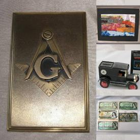 MaxSold Auction: This online auction features Masonic Collectibles, Vintage Wooden Spools, Art Pottery, Jewelry, Coins, Currency, Stamps, Vintage Metal Toys, Vintage Inkwells, Art Glass, Unique Tea Pots, Native Masks, Small Kitchen Appliances, Children's Books, Shamianas, Live Plants and much more!