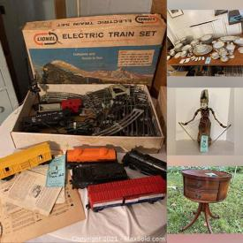 MaxSold Auction: This online auction features Musical Instruments, Drift Wood Furniture, Vintage Furniture, Glassware, Pyrex, Pottery, Statues, Figures, Sculptures, Fine China, Barware, Sporting Goods, Antique Toys, Nippon, Medical Equipment and much more.