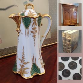 MaxSold Auction: This online auction features MCM, Dresden, Asian Pottery and Artwork, Ceramics, Jewelry, Sterling Silver, Toby Jugs, Musical instruments, Jade, Porcelain, Antiques, Oil lamps, Clocks, Watches, Coins, Model Cars, Turquois, Jugs, Canisters and much more.