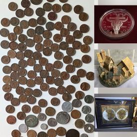 MaxSold Auction: This online auction features collectibles such as David Winters figures, Wade, Royal Doulton, crystal ware, vintage Capodimonte, fine bone china, commemorative coins, and stamps, candleholders, vintage home decor, brassware, costume jewelry, vintage hand tools, original watercolours, glassware, books, board games, glass top table, new Team Canada jerseys and much more!