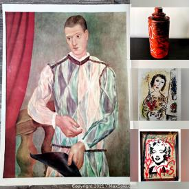 MaxSold Auction: This online auction features original lithographs with COAs, signed prints such as Andy Warhol, original sculptures and paintings by Tadas Zaicikas with COAs and more!