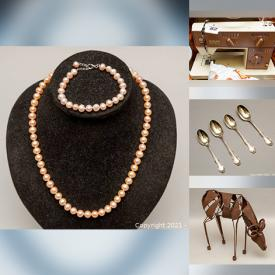 MaxSold Auction: This online auction features WW2 Sterling Silver Medals, 10kt Gold Earrings, Swarovski Crystal, Porcelain Figurines, Cast Iron Bank, Costume Jewelry, Art Pottery, Vintage Books, Art Glass, Model Airplanes, Collectible Teacups, Carved Wooden Sculptures, Treadmill and much more!