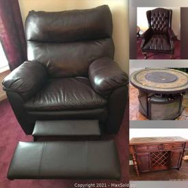 MaxSold Auction: This online auction features furniture such as Ashley Furniture dining table and chairs, sectional sofa, recliners, wooden tables, patio set, and dressers, wall art, lamps, planters, bicycles, yard tools, outdoor grill, luggage, home decor, range top, exercise equipment and much more!
