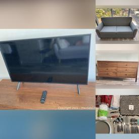 """MaxSold Auction: This online auction features 40"""" Samsung TV, furniture such as Structube dresser, The Bay sofa bed, and metal stools, small kitchen appliances, bedding and much more!"""
