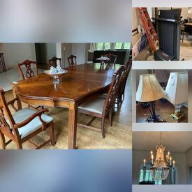 MaxSold Auction: This online auction features furniture such as dining tables, dining chairs, nightstand, sofa table, and media cabinet, chandelier, area rugs, window treatments, lamps, home decor, framed wall art, ceramics, NIB shelving, small kitchen appliances and much more!
