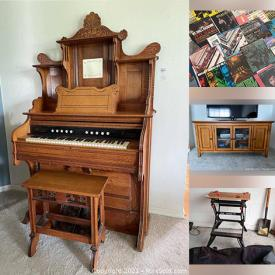 MaxSold Auction: This online auction features a Monarch pump organ, furniture such entertainment cabinet, coffee table, and dresser, electronics such as Dell monitor and Compaq monitor, sterling silver such as Reed & Barton flatware and Towle décor, ceramics such as Royal Doulton and Limoges, silverplate such as serving ware and pitcher, power tools such as Craftsman drill and much more!
