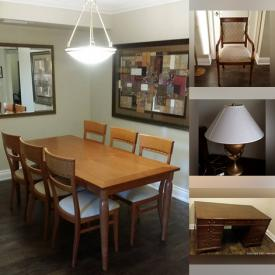 MaxSold Auction: This online auction features an antique lawyer's desk, bedroom set, Italian-made dining table and chairs, bevelled mirror, pictures in frames, midcentury round side table, lamps and much more!
