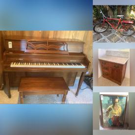 """MaxSold Auction: This online auction features original art such as watercolours and pastels, framed prints, crystal ware, Baldwin piano, lamps, camping gear, furniture such as vintage dresser, antique cabinet, file cabinets, and IKEA sofa, board games, sports equipment, home decor, kitchenware, 32"""" LG TV, vintage Barbie, glassware, small kitchen appliances, Pioneer amp, yard tools, power tools, Bridgestone bikes and much more!"""