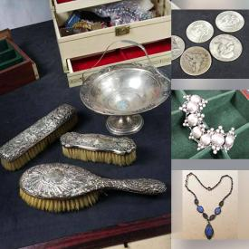 MaxSold Auction: This online auction features collectible coins, jewelry such as vintage sterling silver rings, 14k earrings, vintage opal ring, 14k pins, diamond pendants, pearl earrings, brooches, jade pendants and much more!