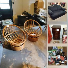 MaxSold Auction: This online auction features Bamboo furniture, Glassware, Kitchenware, BBQ Smoker, MCM Furniture, Media, Electronics, Chandeliers, Exercise Equipment, Tools, Shoes and Clothing, Playstation, Wood Carvings, New Merchandise and much more.