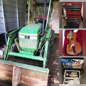 MaxSold Auction: This online auction features John Deere Tractor, Yard Tools, Collectible Pocket Cutters, German Cuckoo Clock, Motorcycle Collectibles, Wooden Art, Violin, Art Glass, Grandfather Clock, Power & Hand Tools, Vacuums, Small Kitchen Appliances, Area Rugs, Rolling Toolbox, Power Scooters, Welding Gear, Floor Jacks, Power Recliner, Generator, Air Compressor, Lawnmowers, Compressor, NIB LCD HDTV, Garden Art, Camping Gear, and Much, Much, More!!