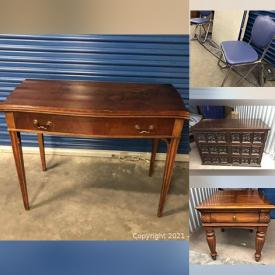 MaxSold Auction: This online auction features Contents of Storage Unit including Spanish hand-carved drawer front bedroom set, 1969 Thomasville Dining Room Table, 1950's Retro enamel and chrome table with chairs, Singer sewing machine in cabinet with chair and much more!