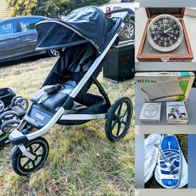 MaxSold Auction: This online auction features a custom Pirate Ship twin bed, Kenmore humidifier, rug, Thule stroller, Jimmy Styks hybrid sup, Bumbleride stroller, Alexander Julian armoire, RV couch, One Fast Cat exercise wheel, cat tree, pop up baby tents, shelving units, pet items, baby items, bedside tables, outdoor bench, auto accessories, Christmas wrapping supplies, craft supplies, antique milk glass, small kitchen appliances, Dyna Glo grill and accessories, Nintendo Wii Fit, Gola Zero solar panels and much more!