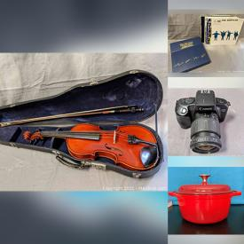 MaxSold Auction: This online auction features 1968 Suzuki Violin, Vintage LPs, Stereo Components, Rock Band T-shirts, Wizard Of Oz Vintage Books, MCM Lighting Vintage Pyrex, Le Creuset Kettle, Cameras & Accessories, Video Games and much more!