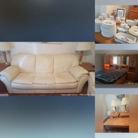 MaxSold Auction: This online auction features furniture such as Italian leather sofa, living room tables, cabinets, and buffet with hutch, lamps, dishware, vases and more!